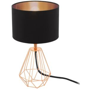 Eglo 95787 Carlton 2 One Light Table Lamp In Copper With Black And Copper Fabric Shade