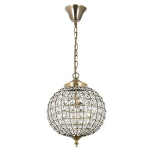 Endon EH-TANARO-AB Tanaro Antique Brass and Clear Glass Ceiling Pendant Light