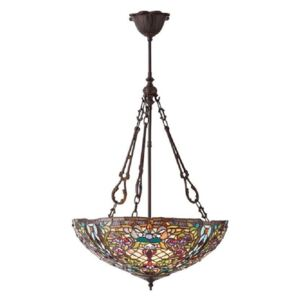 Interiors 1900 70744 Anderson Tiffany Large Inverted 3 Light Ceiling Pendant In Bronze