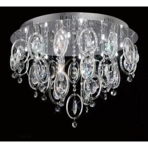 Diyas IL31352 Solana Glass and Crystal Ceiling Light in Chrome Finish