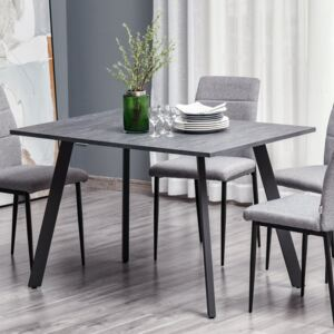 HOMCOM Modern Rectangular Dining Table with Metal Legs and Spacious Tabletop for Kitchen, Dining Room, Living Room, Dark Grey