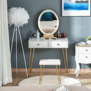 HOMCOM Makeup Vanity Table Set with Round Mirror, 3 Color LED Light, Dressing Desk with 2 Drawers and Cushioned Stool for Bedroom, White