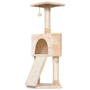 PawHut Cats 3-Tier Sisal Rope Scratching Post w/ Dangle Toy Beige