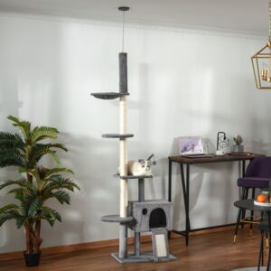 PawHut 280cm Huge Cat Tree Activity Center Floor-to-Ceiling Cat Climbing Toy with Scratching Post Board Hammock Hanging Ball Rest Light Grey