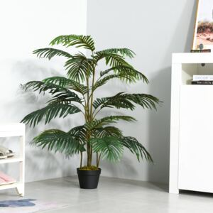 Outsunny Artificial Palm Tree Decorative Plant 20 Leaves with Nursery Pot, Fake Tropical Tree for Indoor Outdoor Décor, 140cm