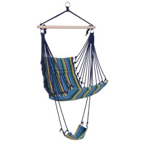 Outsunny Hammock Swing Chair Hanging Rope Striped Seat w/ Foot Rest Indoor Outdoor Porch