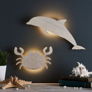 Dolphin & Crab Children's Wall Light Duo