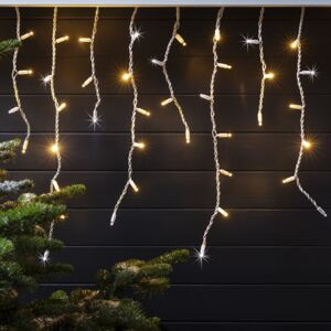 Pro Connect 2m 100 Warm White Sparkling Connectable Icicle Lights White Cable