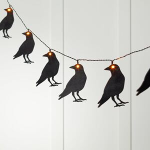 10 Wooden Crow Battery Fairy Lights