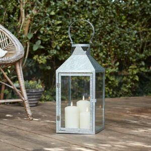 Large Galvanised Lantern with 3 TruGlow® Candles