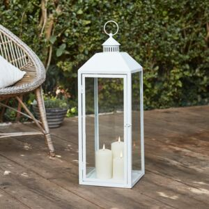 Perth Large White Garden Lantern with 3 TruGlow® Candles