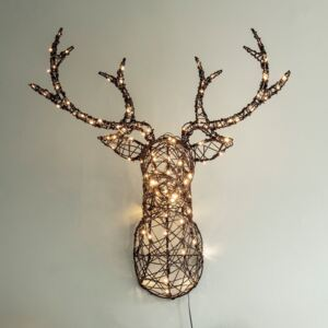 Studley Rattan Stag Head Silhouette Christmas Light