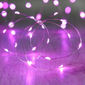 20 Pink LED Micro Battery Fairy Lights