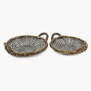 Silver Woven Tray Set with Handles - Default Title