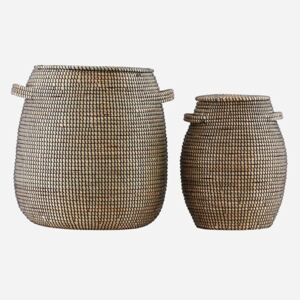 Seagrass Natural/Black Storage Basket by House Doctor - Small