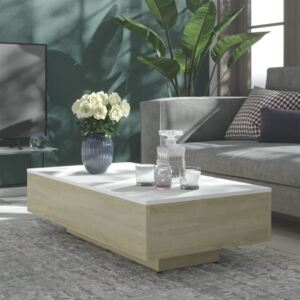 803394 Coffee Table White and Sonoma Oak 115x60x31 cm Chipboard