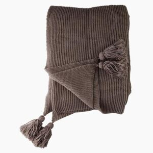 Hand Knitted Brown Throw - Mud by Cozy Living - Default Title