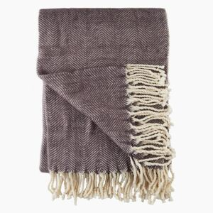 Lambswool Herringbone Throw in Charcoal by Cozy Living - Default Title