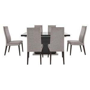 ALF - St Moritz Extending Dining Table and 6 Fabric Dining Chairs - Grey