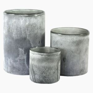 Grey Frosted Candle Holder - Small