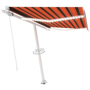 VidaXL Manual Retractable Awning with LED 300x250 cm Orange and Brown