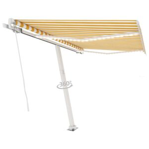VidaXL Manual Retractable Awning with LED 300x250 cm Yellow and White
