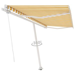 Freestanding Manual Retractable Awning 400x300 cm Yellow/White