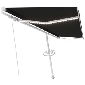 VidaXL Manual Retractable Awning with LED 500x300 cm Anthracite