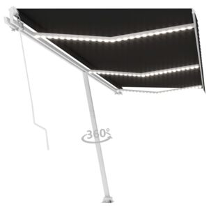 VidaXL Manual Retractable Awning with LED 600x300 cm Anthracite