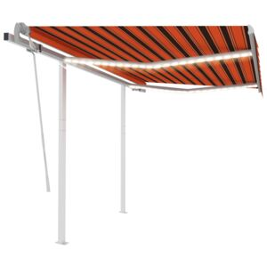 VidaXL Manual Retractable Awning with LED 3.5x2.5 m Orange and Brown