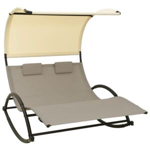 Double Sun Lounger with Canopy Textilene Taupe and Cream