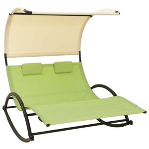 Double Sun Lounger with Canopy Textilene Green and Cream