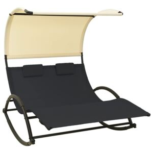 Double Sun Lounger with Canopy Textilene Black and Cream