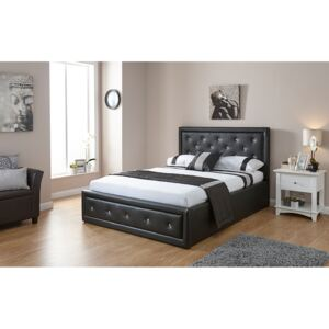 GFW Hollywood Faux Leather Ottoman Bed, Single, Faux Leather - Black