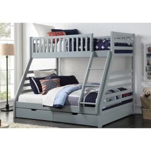 States Wooden Three Sleeper Bunk Bed, Double, White