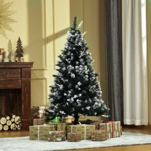 HOMCOM 5FT Artificial Snow Dipped Christmas Tree Xmas Pencil Tree Holiday Home Indoor Decoration with Foldable Feet White Berries Dark Green