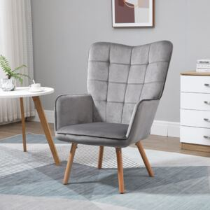 HOMCOM Modern Accent Chair Velvet-Touch Tufted Wingback Armchair Upholstered Leisure Lounge Sofa Club Chair with Wood Legs, Grey
