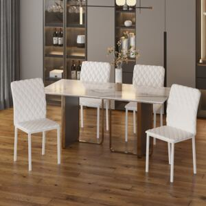 HOMCOM Modern Dining Chairs Upholstered Faux Leather Accent Chairs with Metal Legs for Kitchen, Set of 4, White