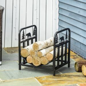 Outsunny Firewood Log Rack Curved Fireplace Log Holder Wood Storage Rack with Handles, Bear Shape Design, Outdoor and Indoor, 42 x 33.5 x 43 cm, Black