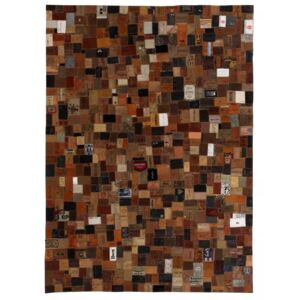 Rug Genuine Leather Jeans Label Patchwork 80x150 cm Brown