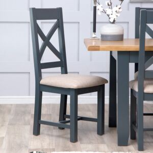 Hampshire Blue Painted Oak Cross Back Dining Chair Fabric Seat