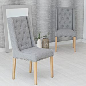 Vienna Light Grey Button Back & Studded Dining Chair