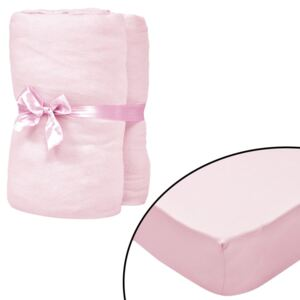 VidaXL Fitted Sheets for Cots 4 pcs Cotton Jersey 40x80 cm Pink