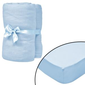 Fitted Sheets for Cots 4 pcs Cotton Jersey 40x80 cm Light Blue