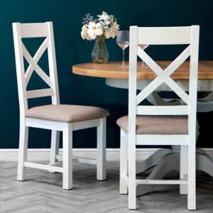 Hampshire White Painted Oak Cross Back Dining Chair Fabric Seat