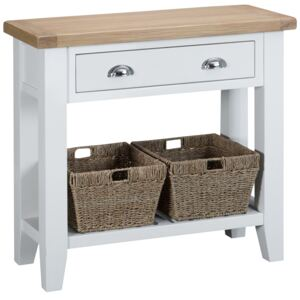 Suffolk White Painted Oak Console Table with Wicker Baskets