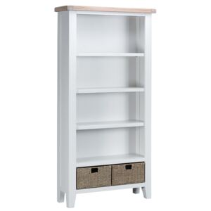 Suffolk White Painted Oak Large Bookcase with Wicker Baskets