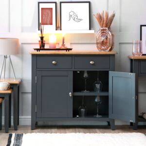 Gloucester Midnight Grey Painted Small 2 Door 2 Drawer Sideboard