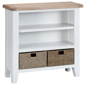 Suffolk White Painted Oak Small Wide Bookcase with Wicker Baskets