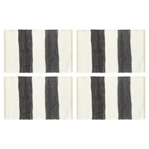 Placemats 4 pcs Chindi Stripe Anthracite and White 30x45 cm